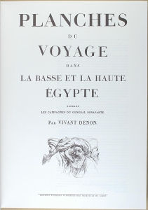 The cover image of Dominique-Vivant Denon's <i>Voyage dans la Basse et la Haute Égypte pendant les campagnes du Général Bonaparte</i> (1802) includes an illustration of several Arab men.