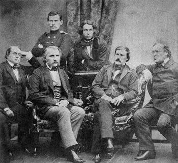 Sergei Lvovich Levitsky's photograph (1856) depicting some of <i>Sovremennik's</i> contributors: (top row, left to right) Leo Tolstoy, Dmitry Grigorovich; (bottom row, left to right) Ivan Goncharov, Ivan Turgenev, Alexander Druzhinin, and Aleksandr Ostrovsky.