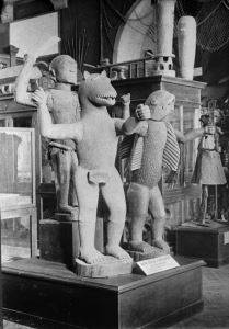 Exhibit of artifacts in the Trocadéro Museum in Paris (c.1900)