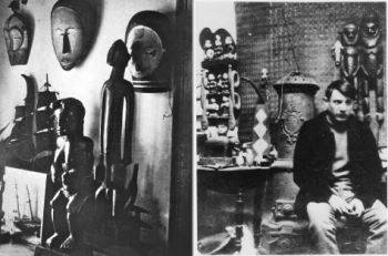 Left: Maurice Derain's studio in Paris adorned with African masks and sculptures, c. 1912; Right: Pablo Picasso in his studio in Paris, 1908