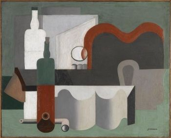 Le Corbusier's <i>Nature morte</i> (1921) includes <i>objet types</i> of wine bottles, industrial piping, a building block, and a chair back, used in a number of his paintings, as well as Ozenfant's.