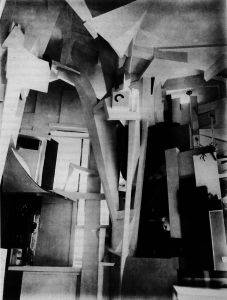 Kurt Schwitters <i>Merzbau</i> (1923-37) dissolved the distinction between art and life through making an enormous column inside his studio using various discarded materials.
