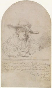 "<i>Saskia in a Straw Hat</i> (1633). According to Rembrandt, ""This is drawn after my wife, when she was 21 years old, the third day after our betrothal - the 8<sup>th</sup> June, 1633."""