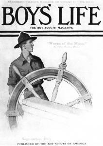 First published magazine cover, <i>Scout at Ship's Wheel</i>, <i>Boys' Life</i> September edition, 1919.