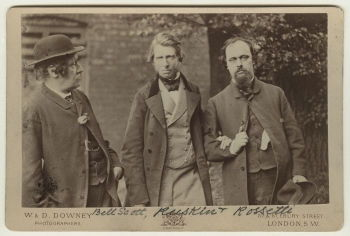 William Bell Scott; John Ruskin; Dante Gabriel Rossetti, by William Downey (1863). Photograph from the National Portrait Gallery, London.