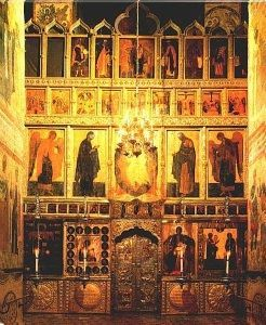 The iconostasis in the Cathedral of the Annunciation in The Kremlin in Moscow containing some of the original icons painted by Theophanes, Prokhar and Rublev.