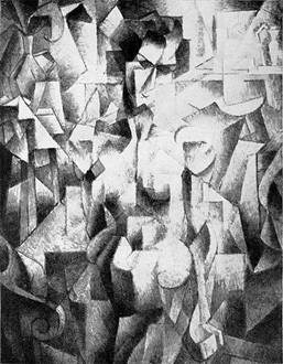 Jean Metzinger's <i>Nu à la cheminée</i> (<i>Nude</i>) (1910), its location unknown since 1913, is shown here in a reproduction from Guillaume Apollinaire's <i>Les Peintres Cubistes, Méditations Esthétiques</i> (1913), a critical and early primary text on Cubism and the history of the movement's development.