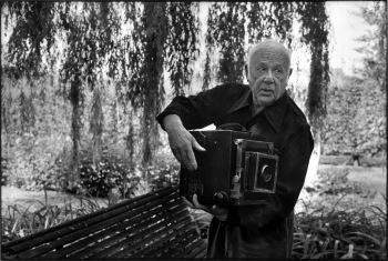 Photograph of Paul Strand at Orgeval taken by Martine Franck, 1972.