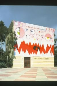 The MOCA Gallery's photograph of their building, painted in the Superflat style for the 2001 Superflat Exhibition.