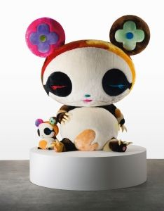 Takashi Murakami's <i>Panda Geant</i> (2009) is a seven-foot tall sculpture of a character from his anime <i>Superflat Monogram</i> (2003) released with the launch of his collaboration with Louis Vuitton.