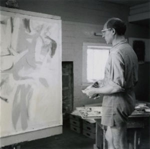"""Jack Tworkov at the Easel"" by Robert Rauschenburg (1952), taken at Black Mountain College"