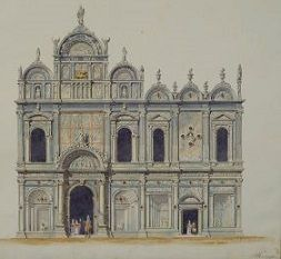 Nicholas Benois's <i>Scuola di San Marco</i> (1841) depicts the Lombardo brothers' carved reliefs of the façade that create the illusion of depth.