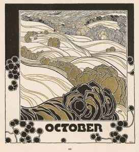 Adolf Böhm, <i>October</i> (1901), design for a calendar illustration, featured in <i>Ver Sacrum</i> showing the journal's square page format
