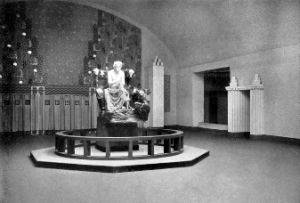 View of the 14th Secession Exhibition showing Max Klinger's larger-than-life sculpture of Ludwig van Beethoven. (1902)