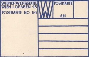 Reverse of Wiener Werkstätte postcard, 1907, showing interlocking 'WW' logo designed by Koloman Moser in 1903 at top center