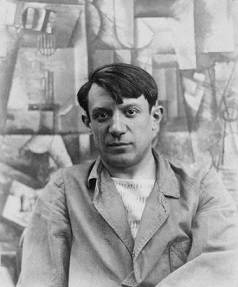 Pablo Picasso in front of his painting <i>The Aficionado</i> at Villa les Clochettes, Sorgues, France (1912)