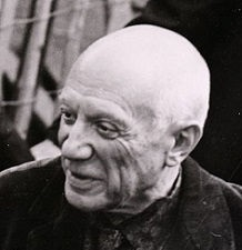 Pablo Picasso at his 1953 exhibition in Milan, Italy