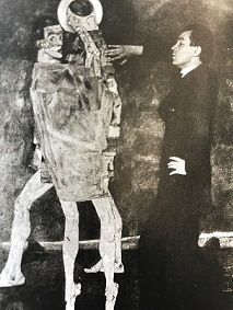 Schiele in front of <i>Encounter</i> - a painting not preserved (1914)